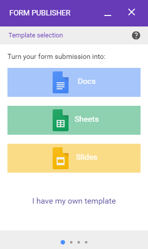 select your template documentation form publisher support