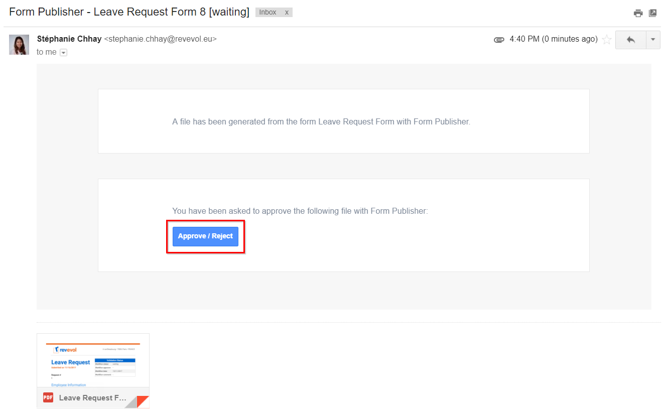 Use Case 1 Hr Approve Or Reject A Leave Request Documentation Form Publisher Support