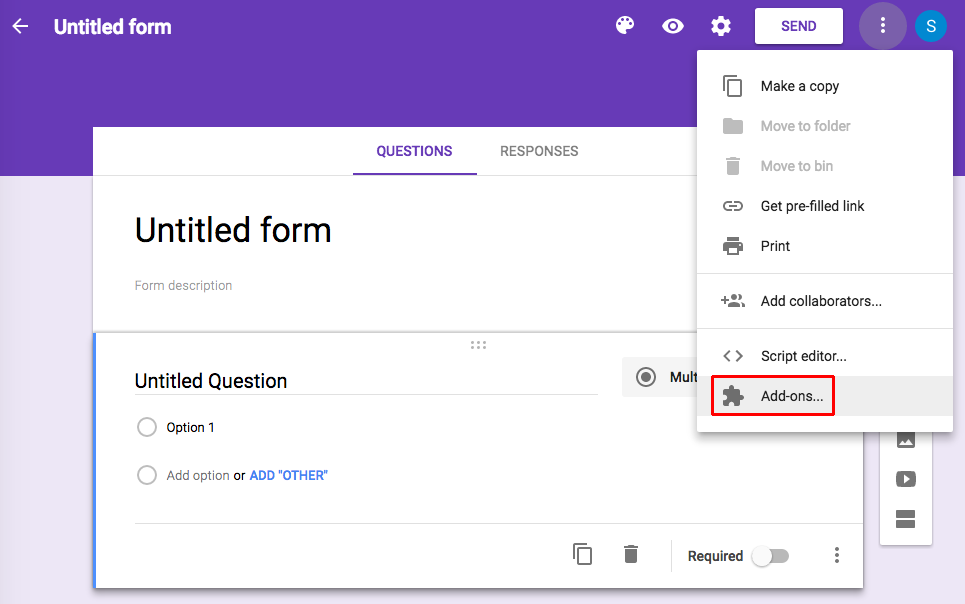 Add-ons Google Forms
