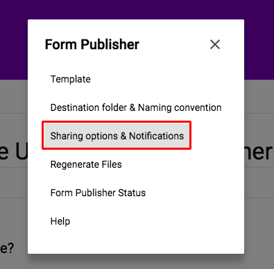 Sharing options and notifications
