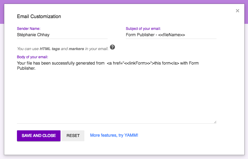 Customize email sent with Form Publisher