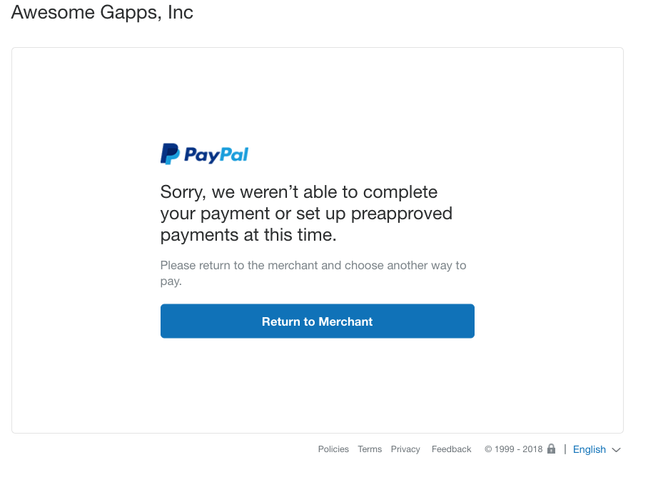 PayPal error: can't complete payment