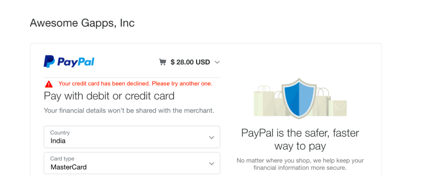 PayPal error: credit card declined