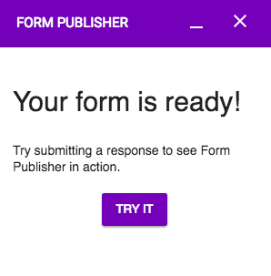 Demo Form Publisher completed