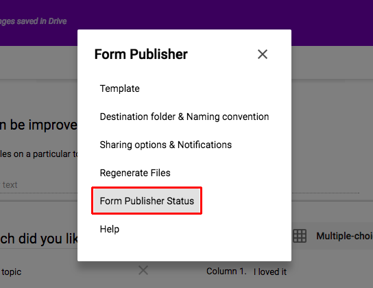 Form Publisher Status