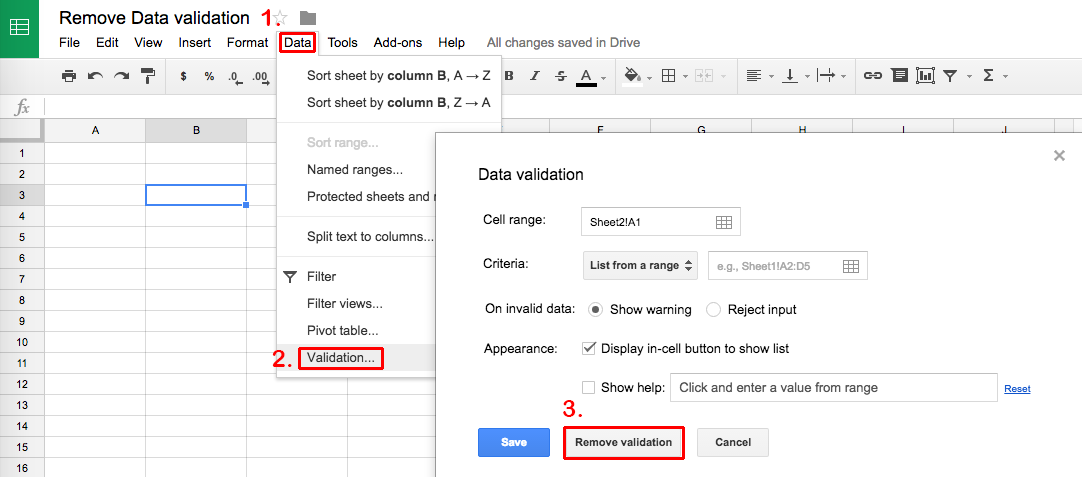 Remove data validation Sheets
