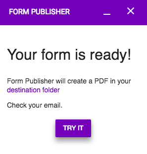 Form ready Publisher